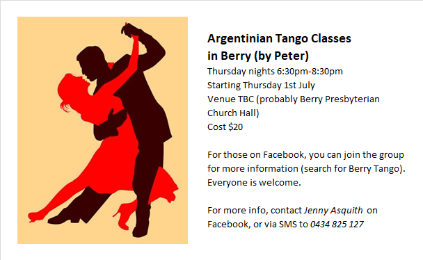 INFO: Tango Classes in Berry from 1st July for those interested